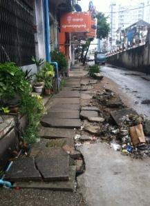 A Yangon sidewalk.