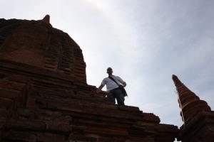 Temple climbing in Bagan.